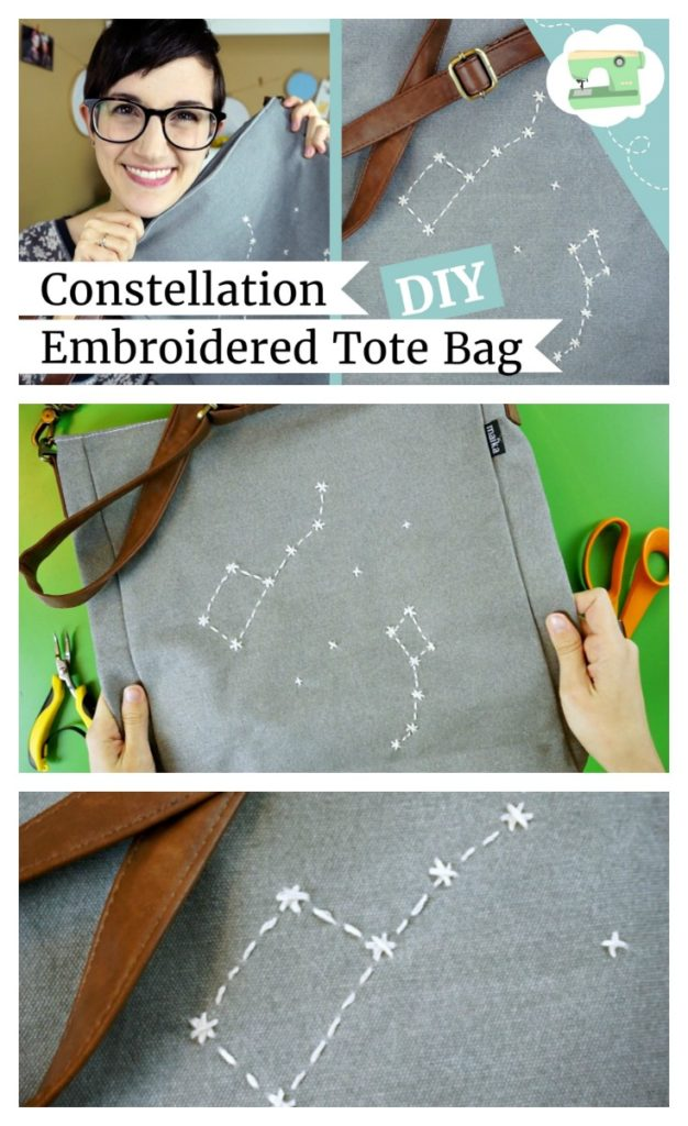 DIY Constellation Embroidered Tote Bag by Lauren Fairweather